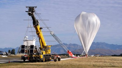 A NASA Super Pressure Balloon is shown here just before launch from Wanaka, New Zealand, March 26. Credits: NASA/Balloon Program Office